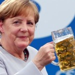German Chancellor Merkel at Trudering festival in Munich