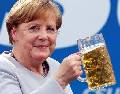 German Chancellor Merkel at Trudering festival in Munich